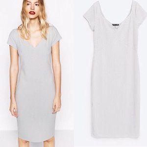 ZARA Collection grey ribbed body con dress